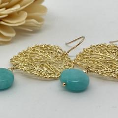 Green Amazonite Drop Earrings