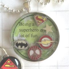 Superhero necklace, dc comics necklace, dad necklace, supergirl necklace, ww nec