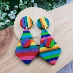 Rainbow Connection - Tie Stripes - Handcrafted polymer clay dangle earrings