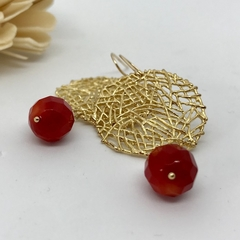 Red Coral Statement Earrings