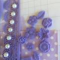 One Colour Embellishment kit,  purple scrapbook embellishments,  cardmaking kit