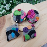 Stone Quilt - Handcrafted polymer clay dangle earrings