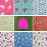 Girls large library bag, 8 fabrics, cotton drawstring bag or daycare sheet bag