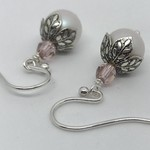 Swarovski White and Pink Pearl Earrings