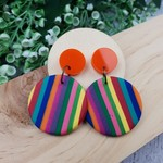 Rainbow Connection - circle Stripes - Handcrafted polymer clay dangle earrings