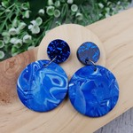 Blue Sky with Glitter - circle Marble- Handcrafted polymer clay dangle earrings