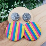 Icecream Stripes with silver - circle - Handcrafted polymer clay dangle earrings