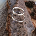 Flat minimalistic silver ring