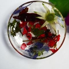 Resin Ring Dish Trinket Dish Flannel Flowers in Resin Handmade BlackwoodLily
