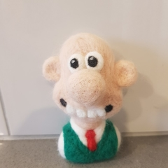 Needle felted bust of Wallace from Wallace and Gromit.