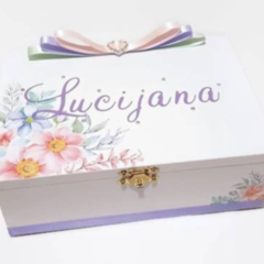 Pastel Spring Flowers Keepsake, Trinket, Jewellery, Memory, Wooden, Baby Box