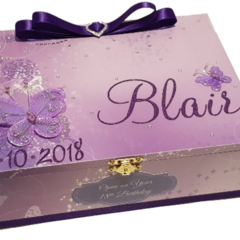 Purple Butterflies Time Capsule Keepsake Wooden Baby Box