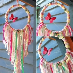 Dream Catcher Butterfly Rose Ribbon Pink White Green Baby Flower Girl Wedding