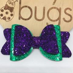 """Mermaid Glitter Hair Bow 4"""" Purple Green"""