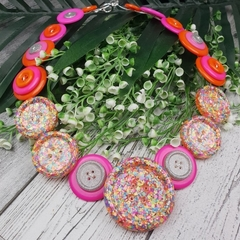 Neon Sparkle Glitter  - Button Necklace - Button Earrings - Jewellery
