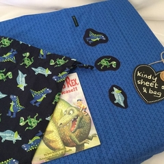 Kindy Sheet Set -  'NAVY DINOSAURS'