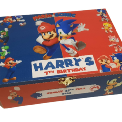 Mario and Sonic Keepsake, Treasure, Wooden, Time Capsule, Birthday Box