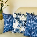 Indigo shibori cotton/linen cushion cover. Coastal boho style.