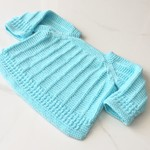0-3 mths Baby Jumper , Arctic Blue , Cotton, Hand Knit