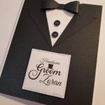 Handsome Groom Tuxedo Card Black & White Personalised