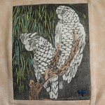 Embroidered  Cockatoo Cushion Cover
