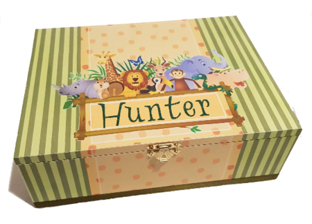 Jungle Theme Time Capsule, Keepsake, Trinket, Treasure, Memory, Baby Box