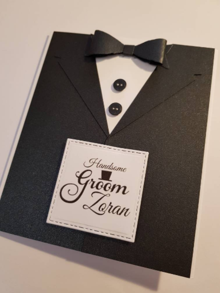 Handsome Groom Tuxedo Card Black & White Personalised