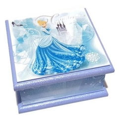 Cinderella Themed Keepsake, Trinket, Treasure, Jewellery Wooden Box Blue