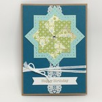 Birthday Card - Patchwork, Turquoise on Kraft