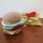 Hamburger and Chips Felt Play Food