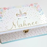 Pastel Floral Unicorn Time Capsule, Keepsake, Trinket, Treasure, Wooden Baby Box