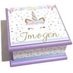 Floral Unicorn Keepsake, Jewellery, Treasure, Trinket, Wooden Box Pastel
