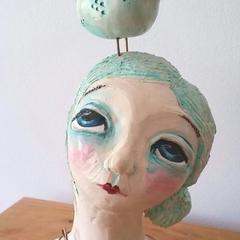 'She Loves' ceramic bust unique teal bird handmade