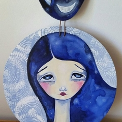 Celeste , wood panel painting.  blue pattern stars moon unique art