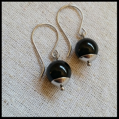 FREE POST Glossy black onyx bead earrings