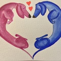 "Original ""I heart you"" card watercolour"