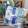Beach Hut outdoor/indoor cushion cover to fit a 50cm sq insert