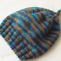 0-3 mths Baby , FREE POST , Jumper & Hat , Brown / Blue , Merino Wool, Hand Knit