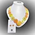 Button necklace  & earrings - Sunnyside Up