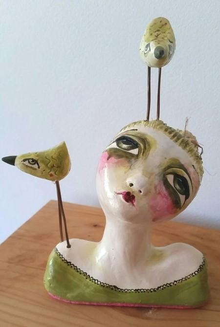 'Please Listen' ceramic bust unique teal bird handmade