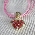 Reversible Heart Pendant Necklace - Pink and Pearls