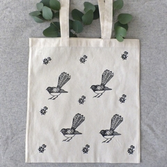 Willie Wagtail Calico Tote Bag / Australian Bird Shopping Bag / Reusable Bag