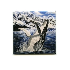 Fridge magnet whale ocean animal, animal art, square 2 x 2 inches
