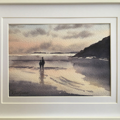 Watching the Sunset, Framed Original Watercolour Painting