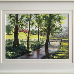By the Stream, West Dean Gardens, England, Framed Original Watercolour Painting