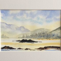 Beyond the Lake, Original Watercolour Painting with Mat Board