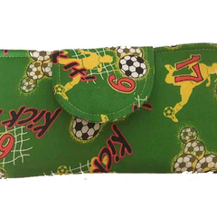 Green soccer lovers wallet, washable cotton, phone and money compartments, sliml