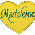 Embroidered Personalised name patch - Heart - Yellow