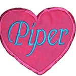 Embroidered Personalised name patch - Heart - Pink