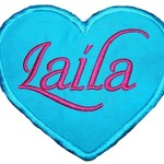 Embroidered Personalised name patch - Heart - Blue